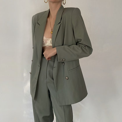 Rare Vintage Sage Wool Double-Breasted Suit