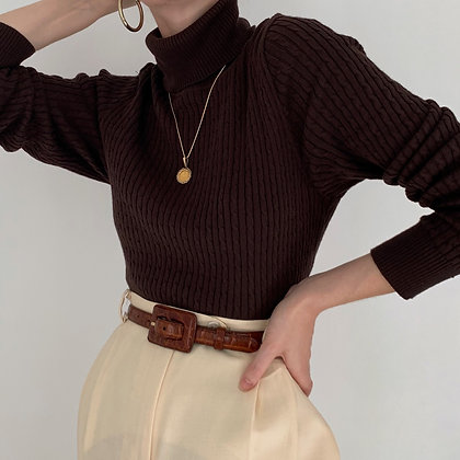 Vintage Chocolate Cable Knit Turtleneck