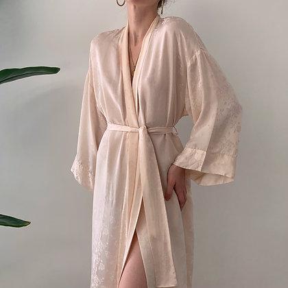 Vintage Blush Floral Silk Kimono Robe