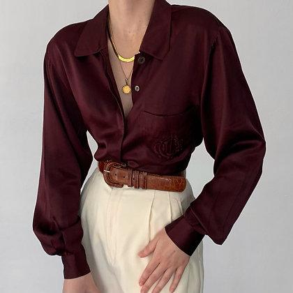 Vintage Christian Dior Aubergine Silk Blouse