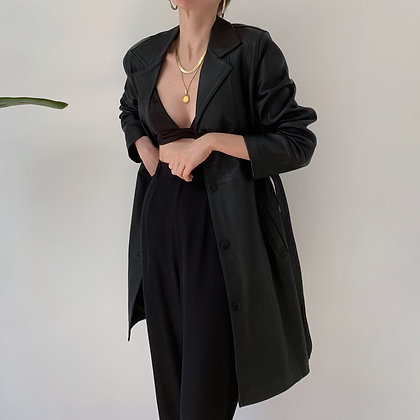 Vintage Onyx Leather Belted Trench Coat