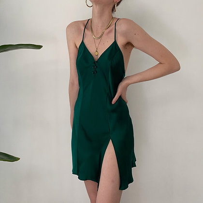 Vintage VS Evergreen Silk Slip Dress
