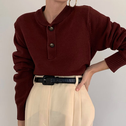 Vintage Burgundy Knit Henley Sweater