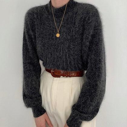 Vintage Charcoal Angora Mock Neck Sweater