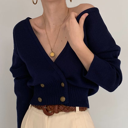 Vintage Navy Double-Breasted Knit Sweater