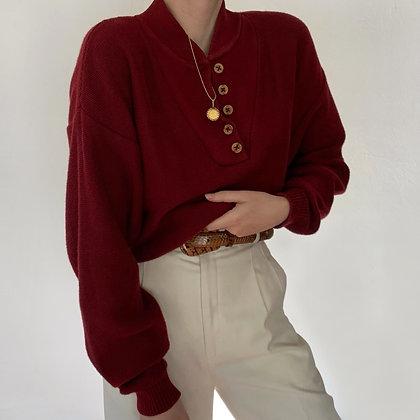 Vintage Merlot Knit Henley Sweater
