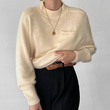 Vintage Ivory Silk Angora Pearl Knit Sweater