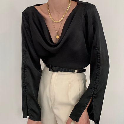 Vintage Noir Satin Buttoned Sleeve Blouse