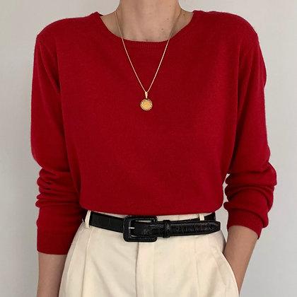 Vintage Cherry Red Silk Cashmere Knit
