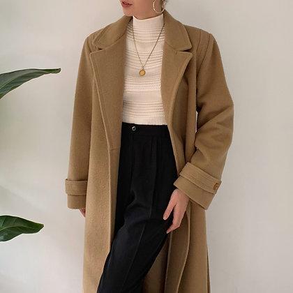 Vintage Camel Wool Long Overcoat