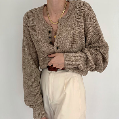 Vintage Cocoa & Cream Knit Henley Sweater