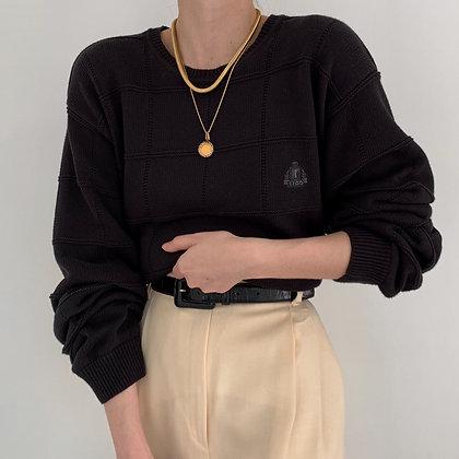Vintage Izod Noir Grid Knit Sweater