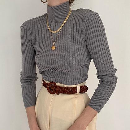 Vintage Stone Ribbed Knit Mock Neck