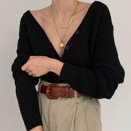 Vintage Onyx Textured Knit Cardigan