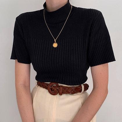 Vintage Onyx Ribbed Mock Neck Shirt