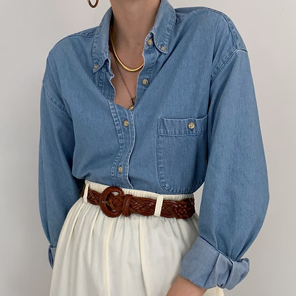 Vintage Light Denim Button Up Shirt