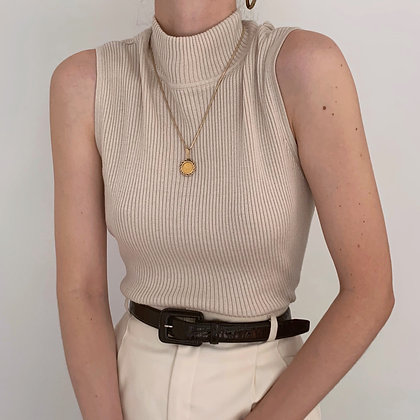 Vintage Sand Ribbed Knit Mock Neck