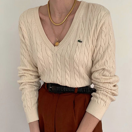 Vintage Lacoste Cream Cable Knit Sweater