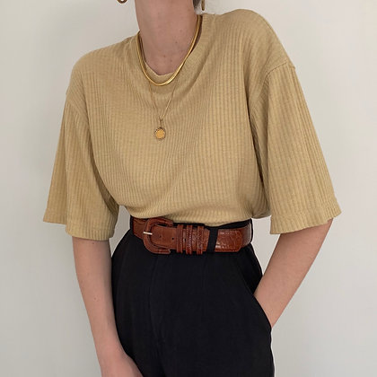Vintage Blonde Ribbed Knit Top