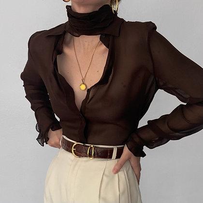 Vintage Ralph Lauren Espresso Silk Button Up