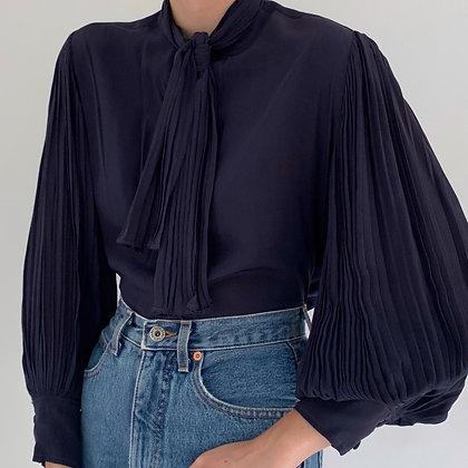 Vintage Navy Pleated Sleeve Blouse