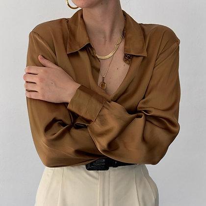 Vintage Bronze Silk Charmeuse Blouse