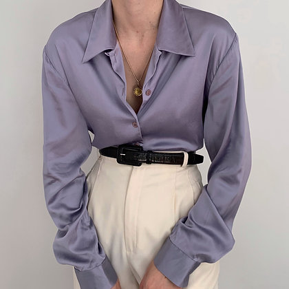 Vintage Lavender Charmeuse Silk Blouse