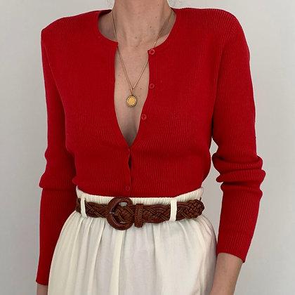 Vintage Poppy Red Ribbed Knit Cardigan