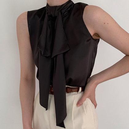 Vintage Noir Silk Bow Mock Neck Blouse