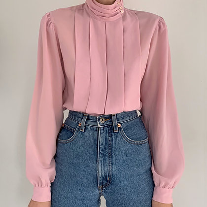 Vintage Cherry Blossom Pleated Blouse
