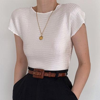 Vintage Pearl Satin Textured Top