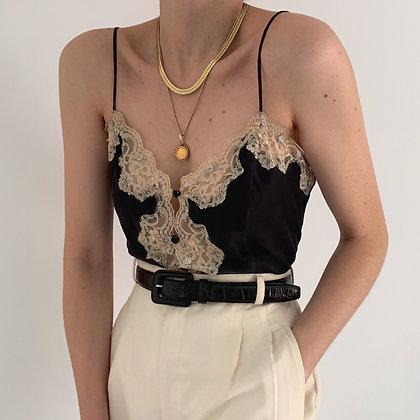 Vintage VS Noir Silk Lacy Camisole