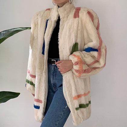 Rare Vintage Multicolor Mod Fur Coat