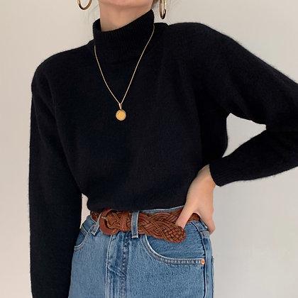 Vintage Black Angora Blend Knit Sweater