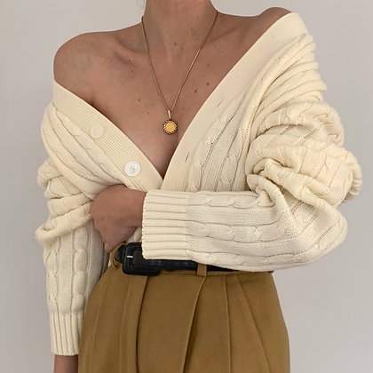 Vintage Cream Chunky Cable Knit Cardigan