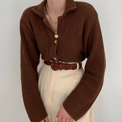 Vintage Chestnut Buttoned Knit Sweater