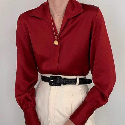 Vintage Garnet Charmeuse Silk Blouse