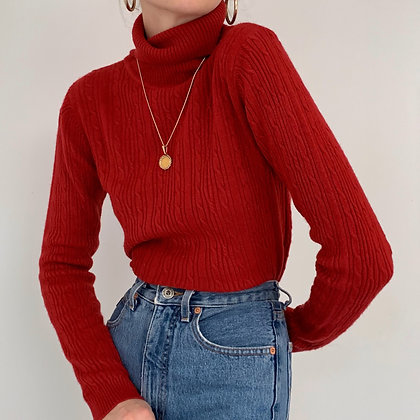 Vintage Cherry Red Cable Knit Turtleneck