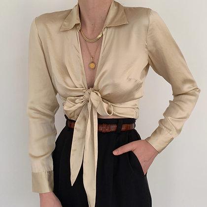 Vintage Golden Silk Charmeuse Wrap Blouse