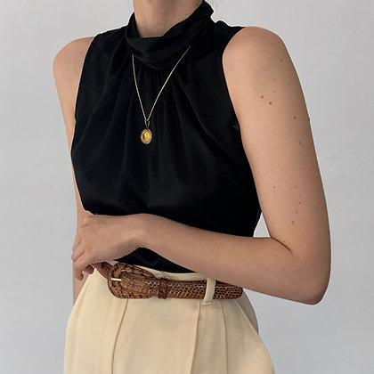 Deadstock Vintage Noir Silk Mock Neck Top