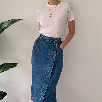 Deadstock Vintage Denim Midi Skirt (23-24W)