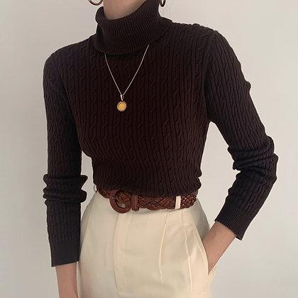 Vintage Espresso Cable Knit Turtleneck