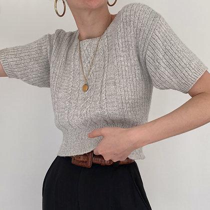Vintage Cloud Cropped Cable Knit Top