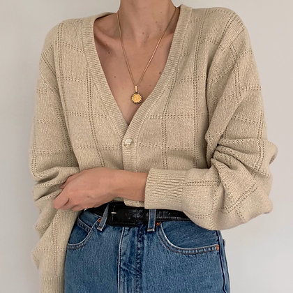 Vintage Oatmeal Grid Knit Cardigan