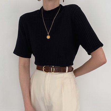 Vintage Noir Ribbed Knit Mock Neck Shirt