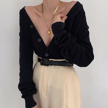 Vintage Oscar de la Renta Noir Knit Cardigan