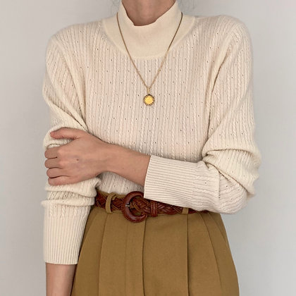 Vintage Cream Cable Knit Cashmere Sweater