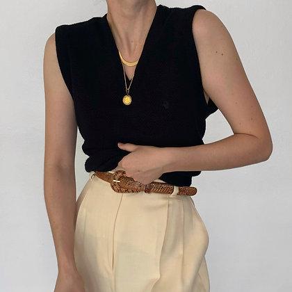 Vintage Christian Dior Noir Knit V-Neck Vest