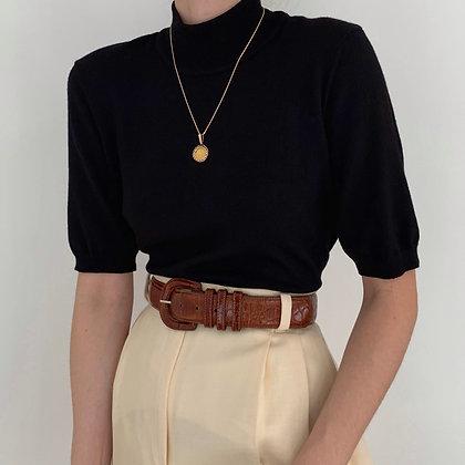 Vintage Anne Klein Onyx Knit Mock Neck