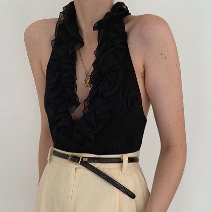 Vintage Noir Silk Knit Ruffled Halter Top